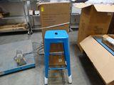 (4) BLUE Metal Bar Stools