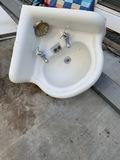 Vintage Cast Iron corner Porcelain Sink