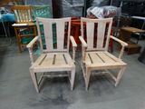 (2) Unfinished wood side chairs w/decorative arms