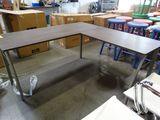 Corner Desk, metal legs and wood appearance top