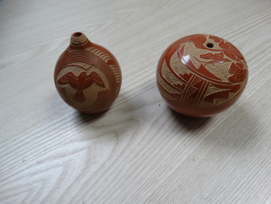 "(2) 1984 ""Vangie Taloya""  Carved Pottery"