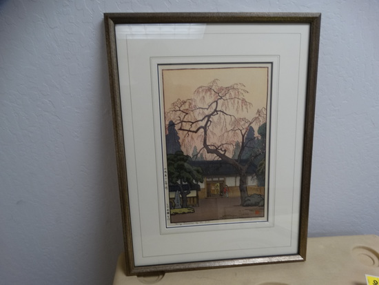 Cherry Blossom By The Gate Wood Block Print