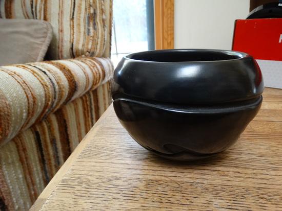 Santa Clara Black Carved Avanyu Motif Pot