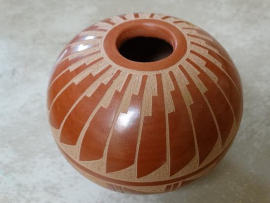 Jemez Red Sgraffito Pot w/ Feather Design