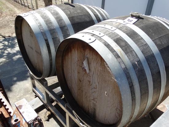 2 Wine Barrels on a Steel Rack