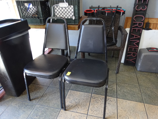 "(6) 2"" Black Stackable Chairs"