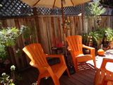 2 Adirondack Chairs, Outdoor Table and Umbrella