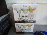 (2)  4 Glass Margarita Sets