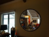 Large Round Beveled Mirror