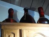 Leather or Like Bound Bottles, Vases