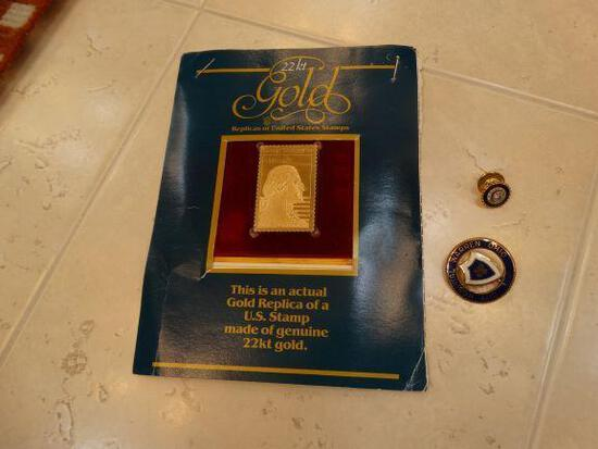22K Gold Replica of a U.S. Stamp and 2 Hospital pins