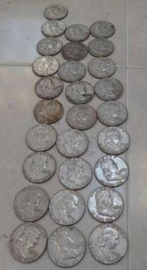 (28) 1950-1960's Franklin Silver Half Dollars