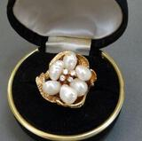 Pearl and Diamond Cluster Woman's Ring