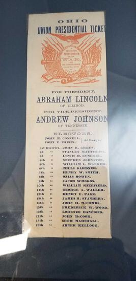 1864 Lincoln-Johnson Electoral Ticket from Ohio