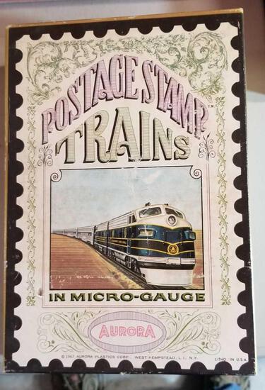 AUORA POSTAGE STAMP Trains