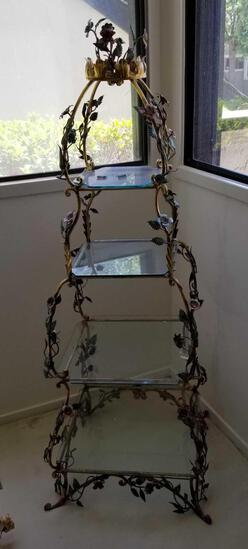 Vintage Tiered Glass and Metal Stand