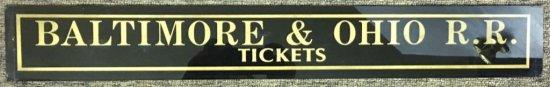 Jalousie Glass Baltimore & Ohio Ticket Sign