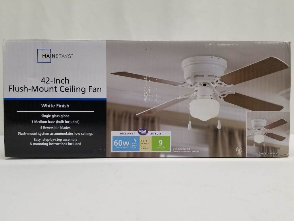 Mainstays 42 Inch Flush Mount Ceiling Fan White Finish New