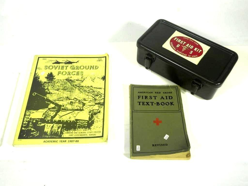 Lot: Military First Aid Kit w/American Red Cross Text Book