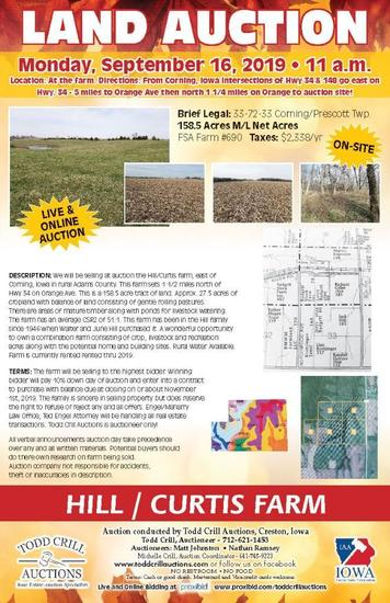 FARM LAND FOR SALE ADAMS COUNTY IOWA (APPROX. 158.5 ACRES)