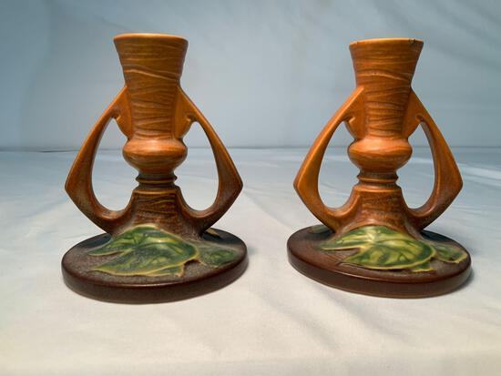 "ROSEVILLE MATCHING CANDLE HOLDERS #1155-4 1/2"" WATER LILLY PATTERN"