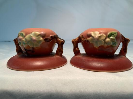 "ROSEVILLE MATCHING CANDLE HOLDERS 2"" HIGH APPLE BLOSSOM PATTERN 35/"