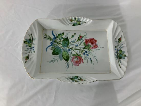 VICTORIA POTTERY SERVING TRAY HAND PAINTED ROSE PATTERN