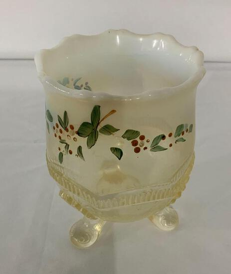 ENAMEL DECORATED OPALESCENT FOOTED VICTORIAN SPOONER