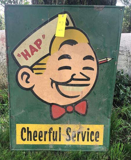 """""""HAP"""" CHEERFUL SERVICE METAL ONE SIDED SIGN"""