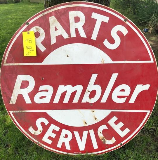 RAMBLER PARTS/SERVICE DOUBLE SIDED PORCELAIN SIGN