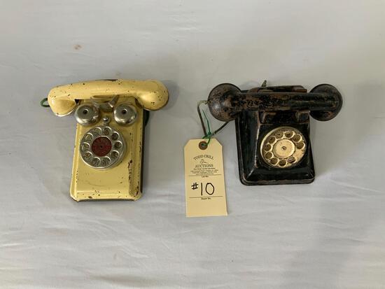 TWO ANTIQUE TOY TELEPHONES