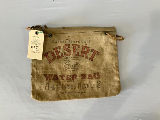 VINTAGE DESERT BRAND WATER BAG AMES HARRIS NEVILLE CO. SAN FRANCISCO CA U.S.A..