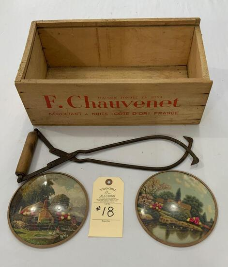 F CHAUVENET WOODEN BOX, ICE TONGS AND SM BUBBLE PICTURES