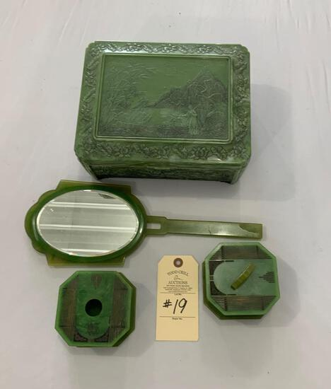 VINTAGE CELLULOID DRESSER JEWELRY BOX WITH MIRROR, HAND MIRROR AND MORE
