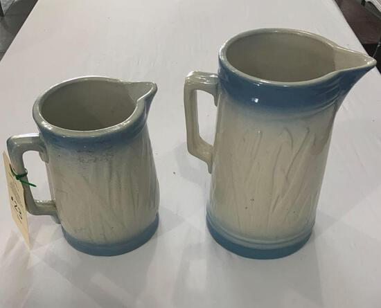 BLUE RIMMED POTTERY PITCHERS, CATTAIL/DRAGONFLY PATTERN
