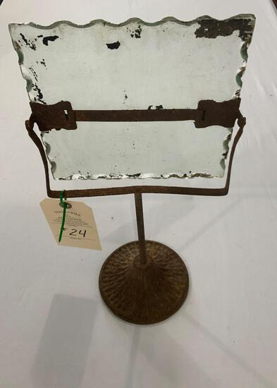 METAL PEDESTAL PICTURE FRAME WITH EDGED GLASS