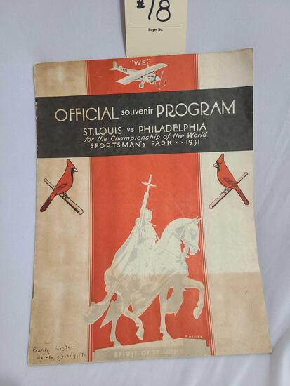 1931 OFFICIAL SOUVENIR PROGRAM ST. LOUIS VS PHILADELPHIA FOR THE CHAMPIONSHIP OF THE WORLD