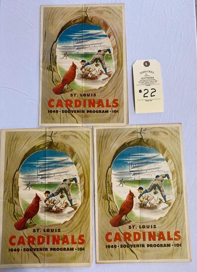 3 - 1949 SOUVENIR PROGRAMS ST. LOUIS CARDINALS BASEBALL MEMORABILIA