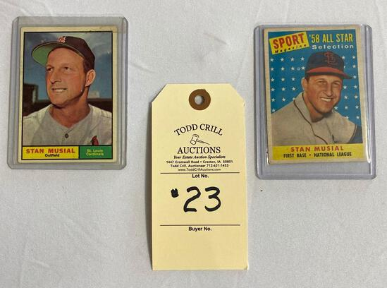 2 - BASEBALL CARDS STAN MUSIAL AND ST. LOUIS CARDINALS BASEBALL MEMORABILIA