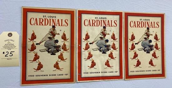 3 - 1950 SOUVENIR SCORE CARDS ST. LOUIS CARDINALS BASEBALL MEMORABILIA