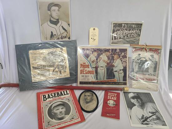 DIZZY DEAN BASEBALL WELCOME SIGN AND MEMORABILIA