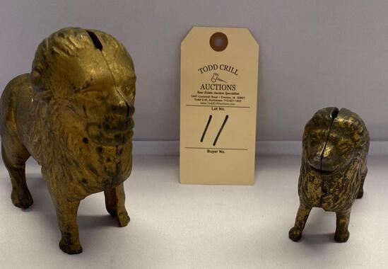 2 CAST METAL LION BANKS