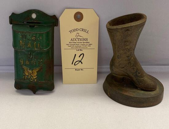 CAST IRON US MAIL BANK AND SHOE