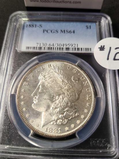 1881-S MORGAN SILVER DOLLAR PCGS MS64