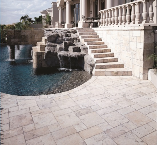 "8""x8"" Limestone Pool Tile"