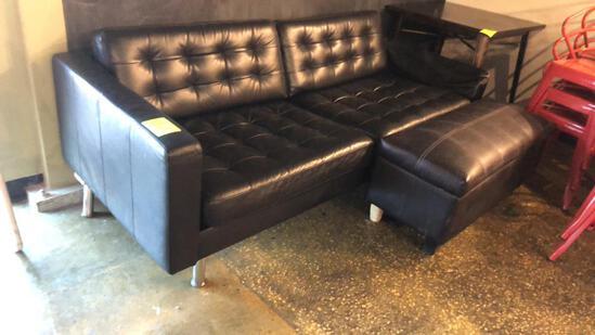 7' Leather Sofa W/ Ottoman