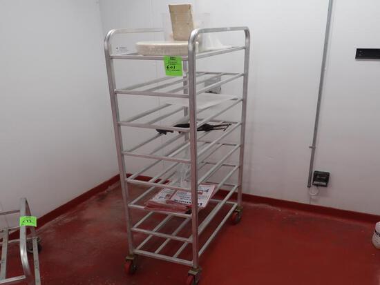 aluminum tub rack w/ contents