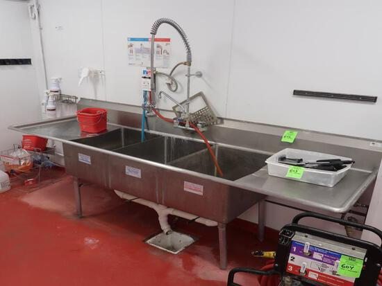 3-compartment sink w/ R & L drainboards & pre-wash spray
