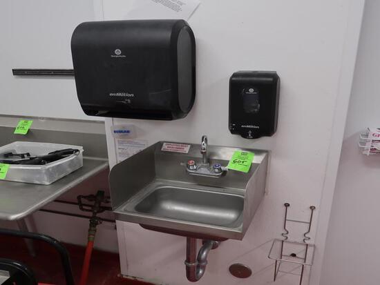 hand sink w/ soap & towell dispenser