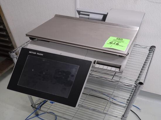 Mettler Toledo scale w/printer on small wire shelving unit